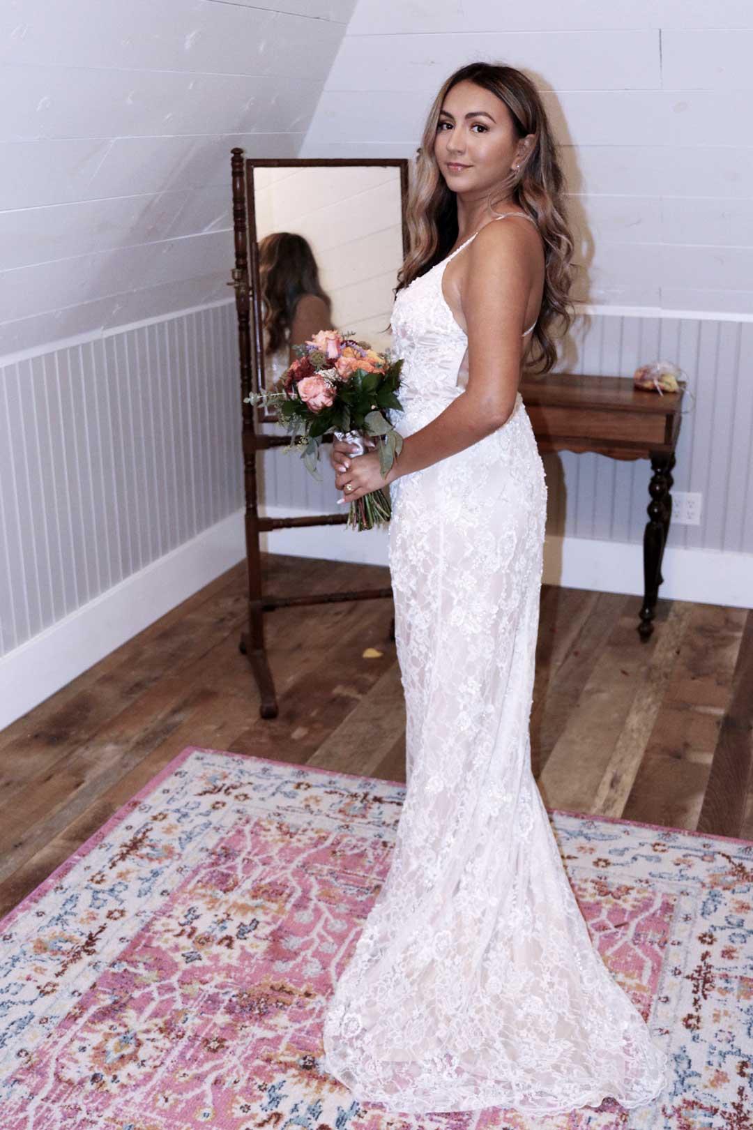 Zerona laser weight loss client in her wedding dress.